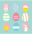 painted colorful pattern egg frame set bunny vector image vector image