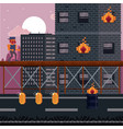 pixelated city videogame scenery vector image