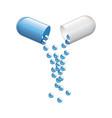 realistic medical opened capsule pill vitamin vector image