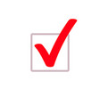 red tick marker checkmark square box icon vector image vector image