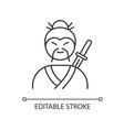 samurai pixel perfect linear icon asian martial vector image
