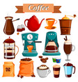 set different coffee food product vector image vector image