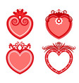 set of decorative hearts vector image vector image