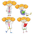 set of doodle scientist vector image