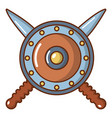 shield and swords icon cartoon style vector image vector image