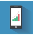 Smart phone with increasing bar chart on the vector image
