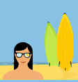 Surfing poster background sea view and girl in