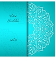 Turquoise elegant invitation with floral ornament vector image vector image