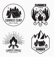 vintage summer camp logo set camping badges and vector image vector image
