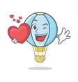 with heart air balloon character cartoon vector image
