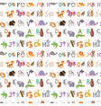 zoo alphabet with cartoon animals seamless pattern vector image