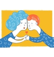 art couple in love and heart Postcard on vector image