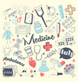 freehand health care and medicine elements set vector image