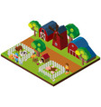 3d design for farm scene with animals and barns vector image