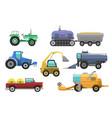 agricultural vehicles harvester tractor vector image vector image
