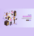 audio recording horizontal banner vector image vector image