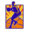 Basketball Player Dribbling Ball Retro vector image vector image