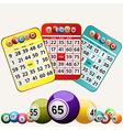 Bingo cards and set of bingo balls on white vector image vector image