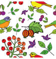 bird berries print vector image vector image