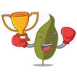 boxing winner bay leaf mascot cartoon vector image