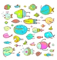 Cartoon Bizarre Fish Collection for Kids Hand vector image vector image