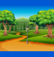 cartoon of forest background with dirt road vector image vector image