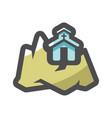church in mountain icon cartoon vector image