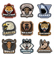 colorful wild animals labels set vector image vector image