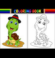coloring book with cute turtle wearing cap vector image vector image