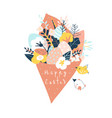 cute cartoon spring bouquet flowers with easter vector image