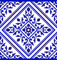 decorative floral blue and white vector image vector image