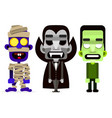 dracula the mummy and zombie set of monsters vector image