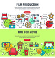 film production and time for movie banners vector image vector image