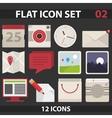 Flat icon set vector image vector image
