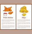 fried chicken and chips set vector image vector image