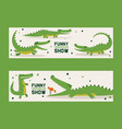 funny crocodiles show set banners vector image vector image