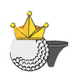 Golf ball with crown and tee icon imag