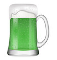 isolated green beer mug for patricks day vector image vector image
