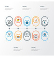 job colorful outline icons set collection of pie vector image vector image