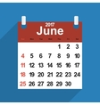 Leaf calendar 2017 with the month of June days vector image vector image