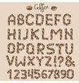 Letters from coffee grains vector image