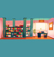 library with books on shelves and desk for study vector image vector image