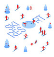 lot of people skiing around words ski resort vector image