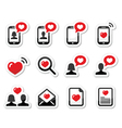 Love couples Valentines Day icons set vector image