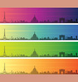 paris multiple color gradient skyline banner vector image vector image