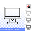 pc monitor simple black line icon vector image