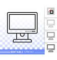 pc monitor simple black line icon vector image vector image