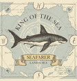 retro travel banner with shark and old map vector image vector image