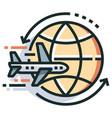 round trip line color icon vector image vector image