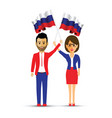 russia flag waving man and woman vector image vector image
